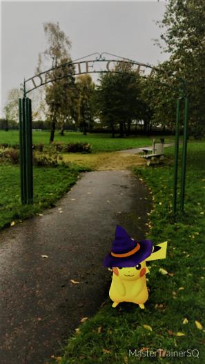 Halloween 2017 Pokémon Go Hunting Pikachu Daisy Green Sign