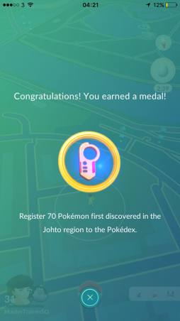 Medal 70 Johto Pokémon Go Hunting At Night