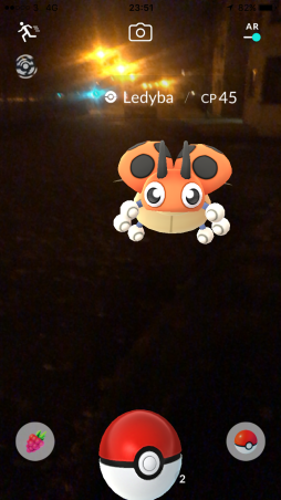 Pokémon Go Hunting At Night Capturing Ledyba