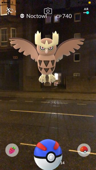 Pokémon Go Hunting At Night Capturing Noctowl