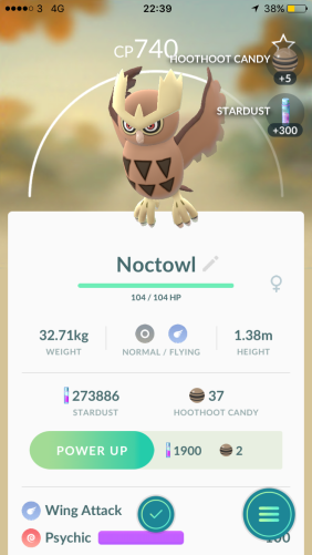 Pokémon Go Hunting At Night Capturing Noctowl