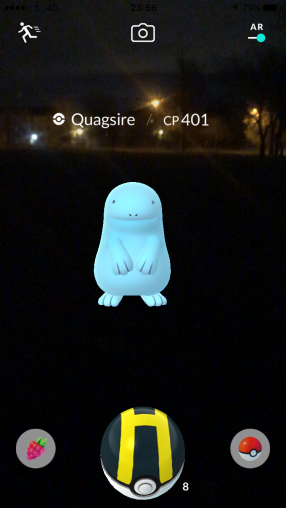 Pokémon Go Hunting At Night Capturing Quagsire