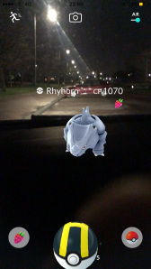 Pokémon Go Hunting At Night Capturing Ryhorn