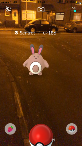 Pokémon Go Hunting At Night Capturing Sentret 2