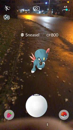 Pokémon Go Hunting At Night Capturing Snesel 3