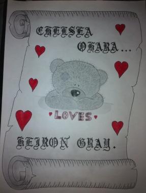 Teddy Love Scroll Drawing