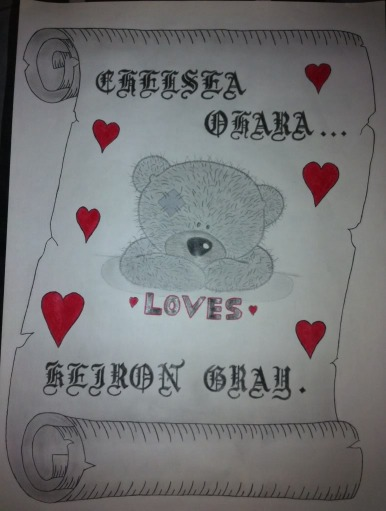 Teddy Love Scroll Drawing